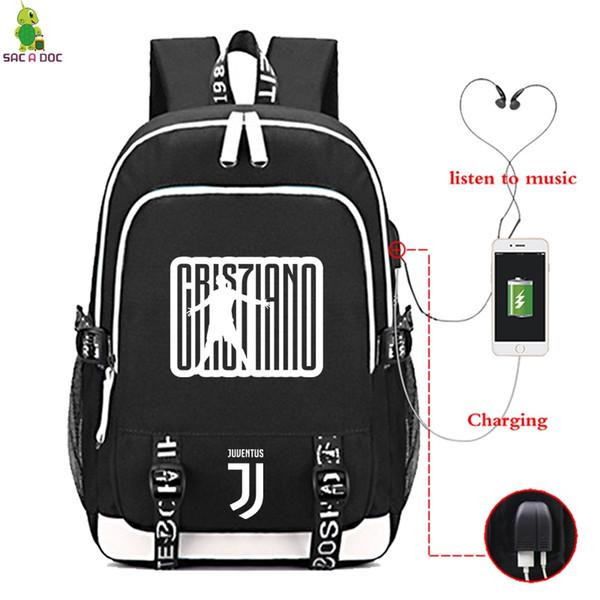 Nuovi Prodotti beffb 54d2d Acquista Cristiano Ronaldo CR7 Zaino Da Viaggio College Zaini Scuola  Bookbag Laptop Borse Da Viaggio Ragazze Adolescenti Borse Zaino Ricarica  Zaino A ...