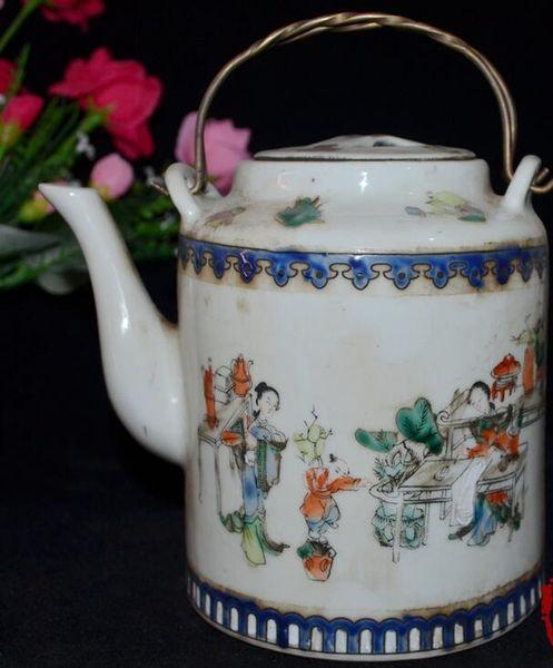 Jingdezhen blue and white porcelain collection boutique vintage porcelain ceramic enamel figure figure portable pot decoration