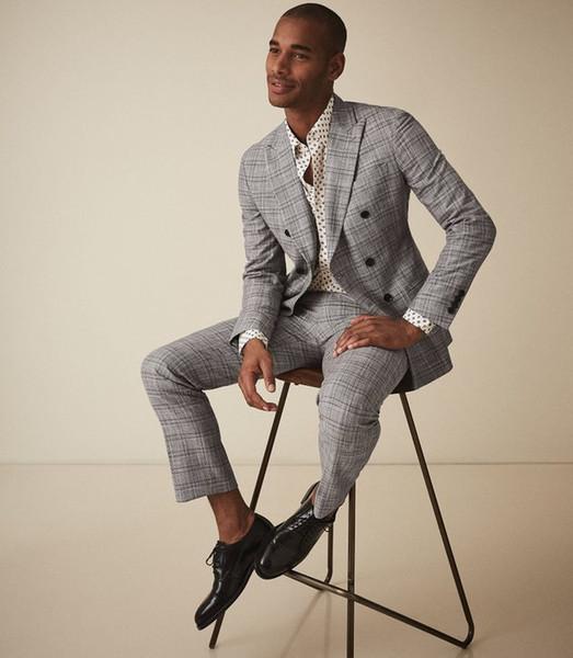 Серый черный плед жених свадебные смокинги Slim Fit три кнопки мужские дизайнерские куртки выпускного вечера Лучший мужской пиджак (куртка + брюки)