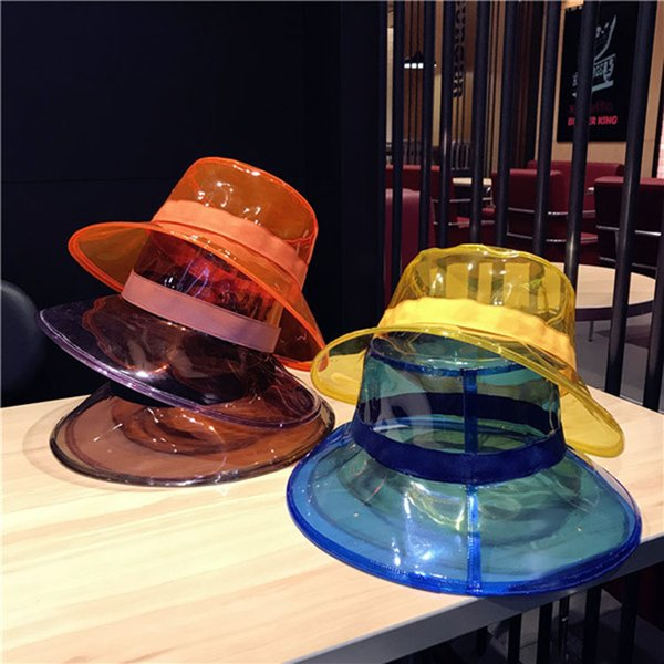 Lady Top Hats For Vacation PVC Clear Waterproof Hats Women Summer Outdoor Caps Casual Flat Hat With Ribbon