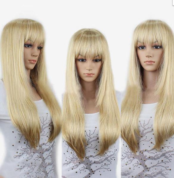 WIG WBY Glamour Hakkında Detaylar Uzun Düz Saç Tam Peruk Parti Cosplay Isıya Dayanıklı Sarışın