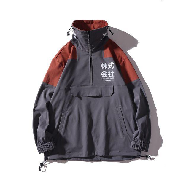 La mitad de los bolsillos traseros con cremallera Pullover rompevientos chaqueta de los hombres 2019 Otoño de Hip Hop Harajuku Coats Streetwear Casual Male SA-8