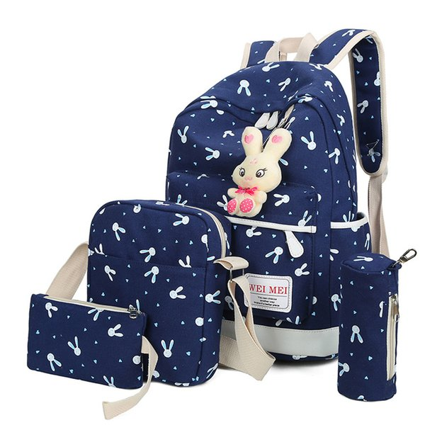 4 Sets Women Girl Rabbit Animals Travel Backpack School Bag Shoulder Bag Handbag Zaino da donna Wholesale&Dropshipping Hot#30