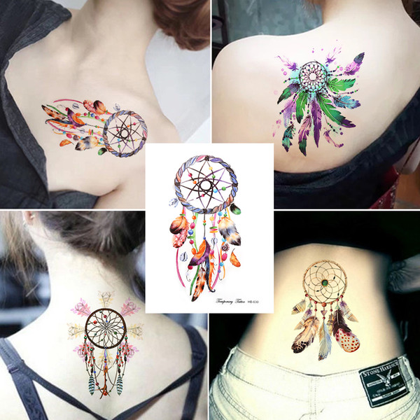 1pc Stylish Colorful Women Feather Leaf Dream Catcher Decal Designs Diy Water Proof Tattoo Sticker Temporary Tattoo Body Art