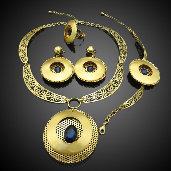 Yuminglai Unique Design 24K Gold Color Plated African Fashion Jewelry Sets with Rhinestone FHK2418