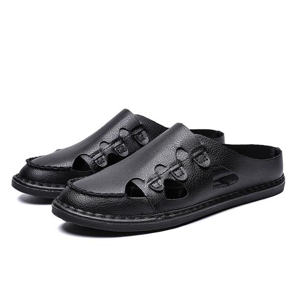 Yaz Sandalet Erkek Deri Klasik Roma Sandalet 2019 Terlik Açık Sneaker Plaj Kauçuk Çevirme Erkekler Su Trekking Sandalet