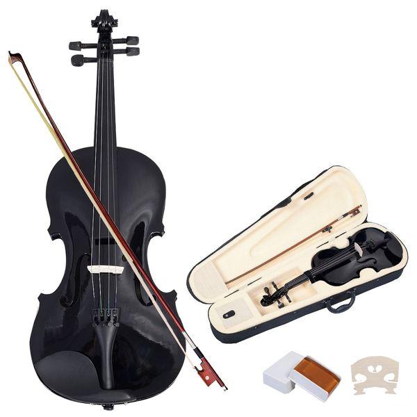 top popular NAOMI VIOLIN ACOUSTIC Violin + CASE + BOW + ROSIN WHOLE SET -PURE BLACK 2021