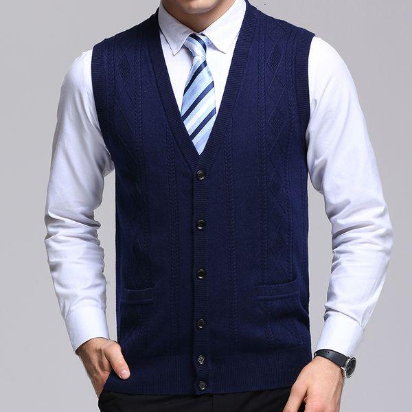 Cardigan Jacquard Slim Fit 2019 de Moda de Nova Camisola de Men Marca Jumpers Knitwear Vest Autumn coreano Estilo Mens Casual roupa V191118