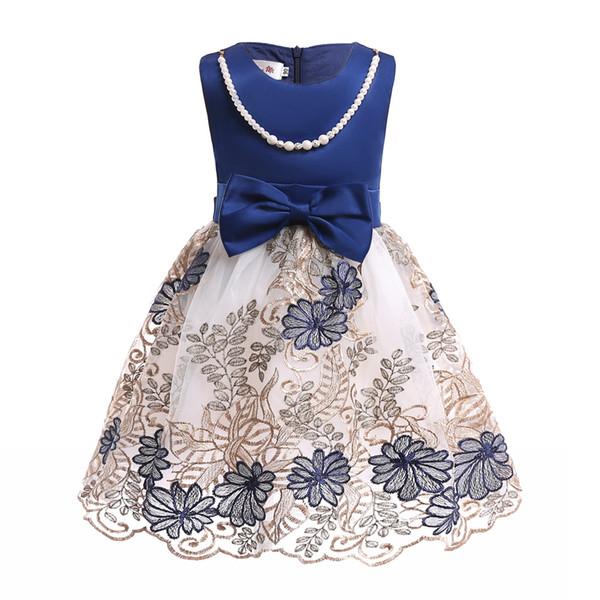 Lace Flower Girl Vestidos Escuro Azul Jóia Pescoço com Pérolas Colar Na Altura Do Joelho Formal Crianças Vestidos de Festa de Aniversário Prom Vestido