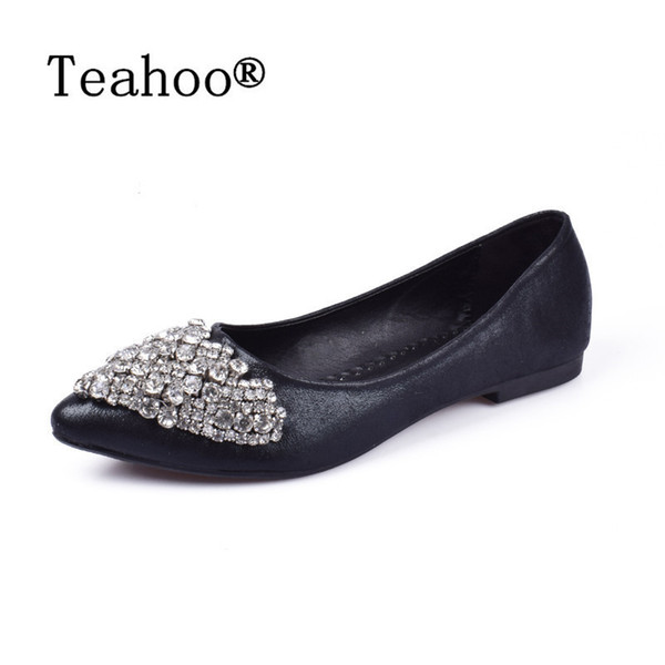 Designer Dress Shoes NEW Fashion 2019 Flats Women Ballet Princess For Casual Crystal Boat Rhinestone Women Flats PLUS Size New