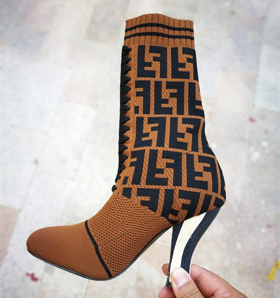 Striking! Stivaletti Rockoko in tessuto donna con tomaia Stivaletti in gomma con tacco grosso in maglia elasticizzata alla moda Lady Lady