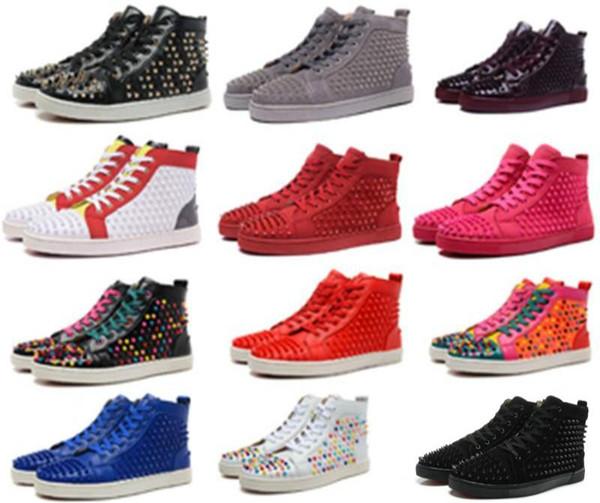 Designer de moda Marca Studded Spikes Flats sapatos sandálias dos homens Red Bottom Shoes Para Homens e Mulheres amantes do Partido Sapatilhas de Couro Genuíno c00