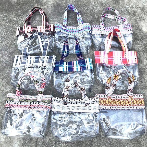 9styles Transparent pvc handbag plaid printed shopping clear bag summer beach swimming storage bag outdoor travel hangbag FFA2241