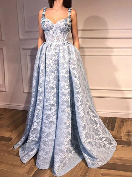 Vintage Full Lace Evening Dresses Sweetheart Flower Appliques Spaghetti Thin A Line Prom Dresses Floor Length Zipper Back Women Party Gowns