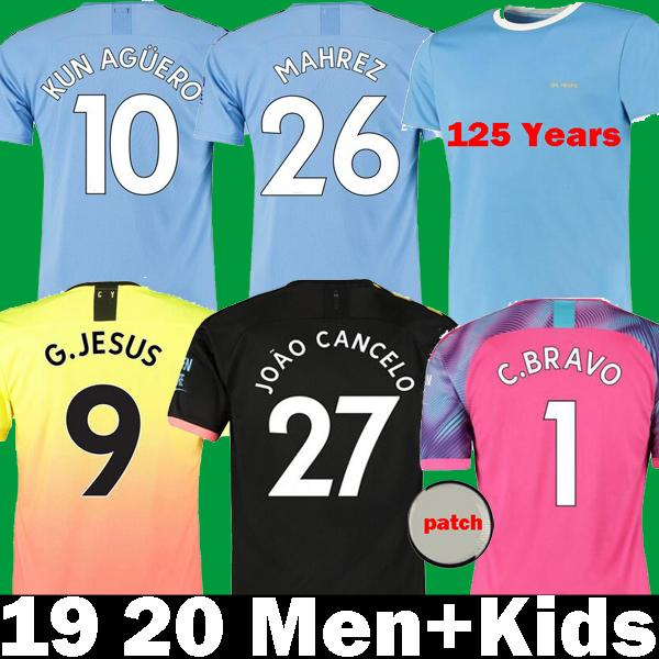 best selling 19 20 soccer jersey city 2019 2020 MAHREZ G. JESUS DE BRUYNE KUN AGUERO football shirt MENDY MAN uniforms manchester maillot men + kids kit