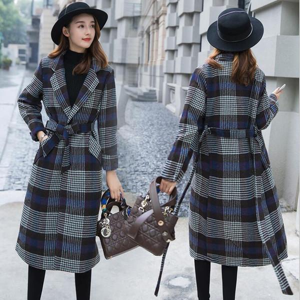 Outono e inverno lapela de mangas compridas jaqueta de lã xadrez das mulheres longa versão coreana do joelho espessamento tendência de sobrecapa