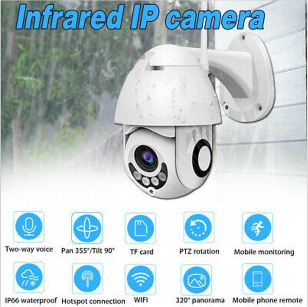 best selling 1pcs HD Outdoor Waterproof Camera 1080P Dome Camera Wireless Wifi Remote Monitoring Panoramic Camera PTZ CCTV Home Security