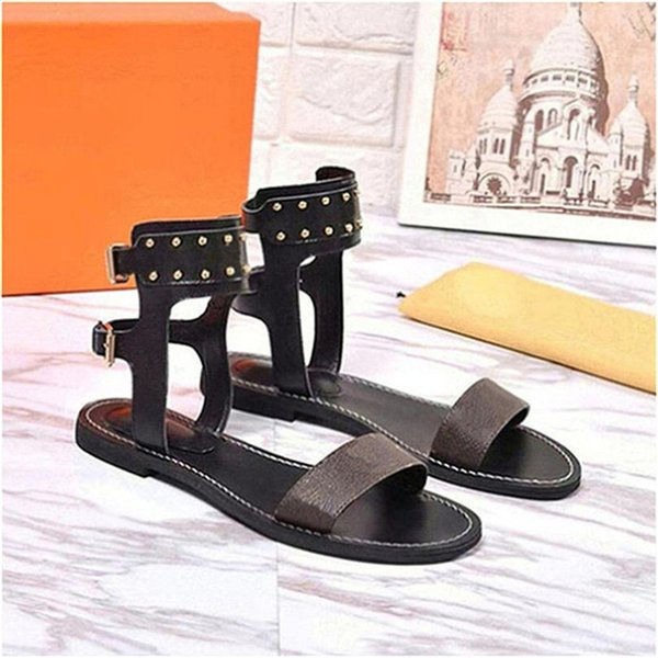 Luxury women nomad sandals Summer Ladies Canvas gladiator style flats sandal black golden sandals for Party Sexy Fashion Ladies Shoes Q20