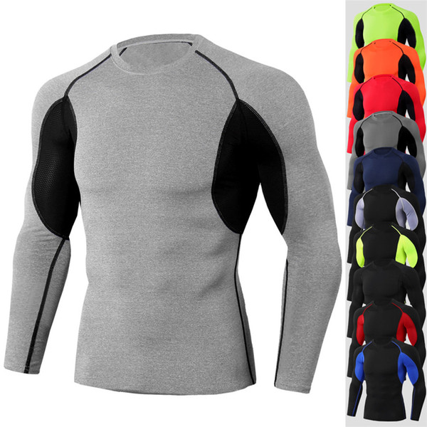 2019 NOUVEAU Gym Sport T-shirt Hommes Compression Running Shirt Manches Longues Bodybuilding Fitness T-shirt Gymnases Tshirt Hommes Serré Rashgard