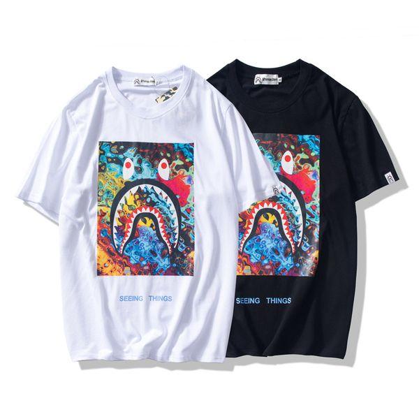 Yaz Lover Karikatür Baskı Siyah Beyaz T-Shirt Streetwear Erkek Kadın Yuvarlak Boyun Kısa Kollu Hip Hop T-Shirt