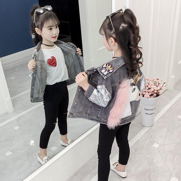Kinder Kleidung Einhorn Jeansjacke für Mädchen Mäntel Baby-Jeansjacke Einhorn-Stickerei-Oberbekleidung Jean-Mäntel für Kind