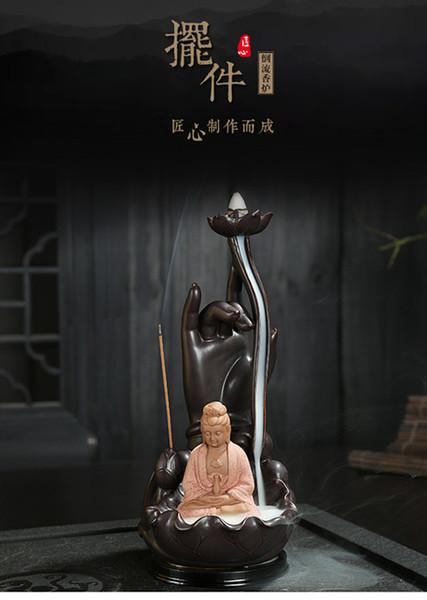 Ceramic Buddha Bergamot Incense Burner Guanyin Backflow Incense Holder Aromatherapy Smoke Creative Buddhist Supplies