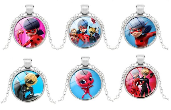 New Cartoon The Lady Bug Fashion Photo Pendant Necklace Jewelry 25mm Crystal Dome Long Chain Necklace For Children 30pcs/