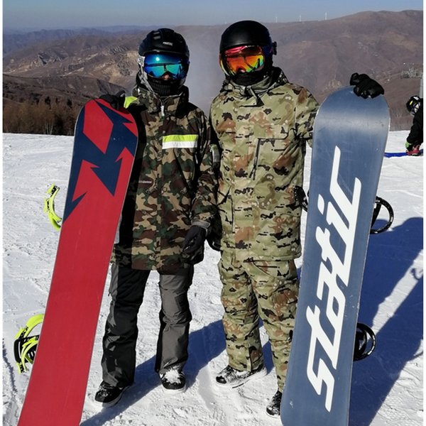 2018 new Men Camouflage double single ski suit warm thick outdoor  Mountaineering sport waterproof ski jacket pants e9739c190