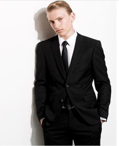 2019 Custom Slim Fit Black Handsome Notched Lapel Wedding Suits For Man Groom best man Business Men Suits tuxedo (Jacket+Pants)