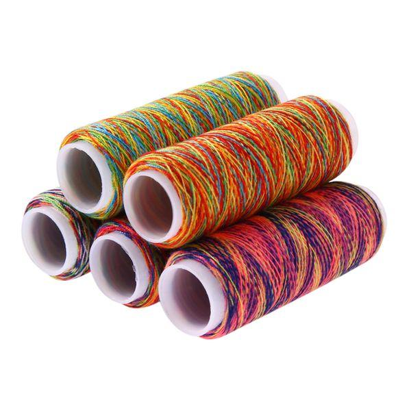 5pcs hilo de color del arco iris rosca a acolchar bordado Hilos de costura a mano de poliéster Hilos de bricolaje Accesorios de costura