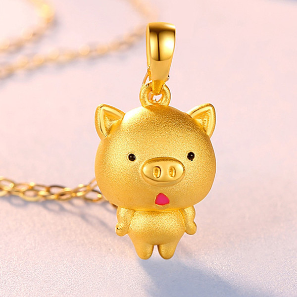 New Arrival Pure 24K Yellow Gold Pendant 3D Carved Cute Pig Pendant