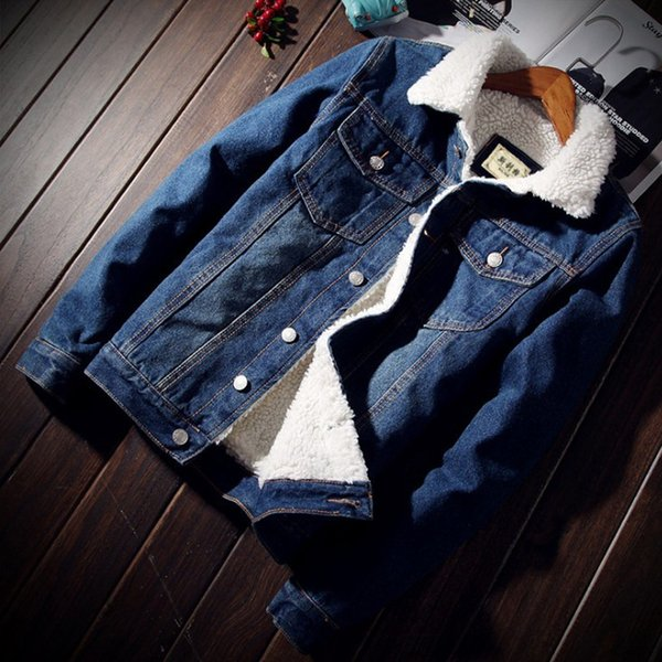 warm fleece denim jacket winter fashion mens jean jacket men and coat trendy outwear male cowboy clothes homme b41