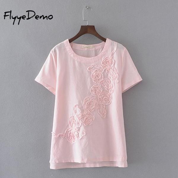 4XL 2019 Apliques Camisetas de Verão T Shirt Para As Mulheres Camiseta de Manga Curta Tops de Algodão de Linho O Pescoço Camiseta Feminina Plus Size J190425