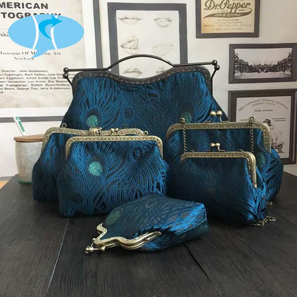 Bekasnoew Vintage Handbags Blue Cloth Handmade Totes Chinese Style Joker Shoulder Bag Striped Hasp Messenger Bags