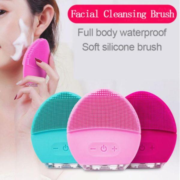 Silicone Elétrico Rosto Limpador Escova de Limpeza Massageador vibrar Limpeza facial Esfoliação Acne Cravo Remoção Pore Limpo