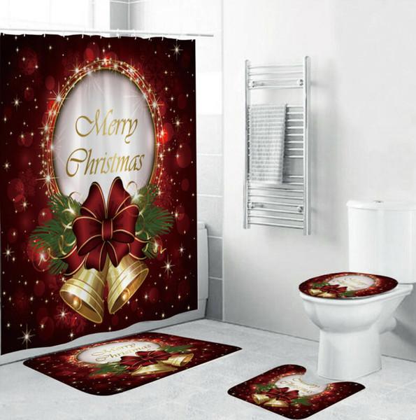 3adet Su geçirmez Noel Banyo Aksesuarları Setleri Perde + Banyo Halısı + Klozet Kapak + Kaideye Kilim Banyo Duş Setleri