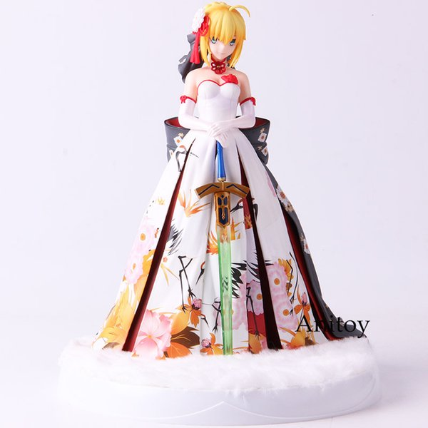 Fate Stay Night Action Figure Saber Arturia Pendragon Kimono Suit Ver. with LED Base Collectible Model Toy