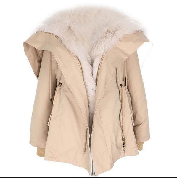 Loose style fox fur lining khaki short women parkas Liner Detachable thick fox fur YKK zipper