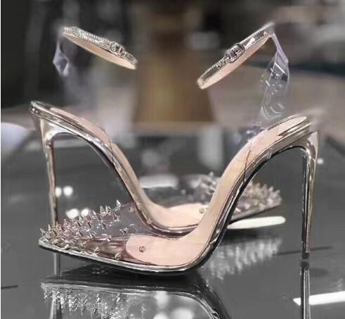 I più nuovi Red Bottom High heels Decolleté in vera pelle Donna Crystal High Heels Décolleté a punta con rivetti Scarpe da sposa Completo di confezione originale
