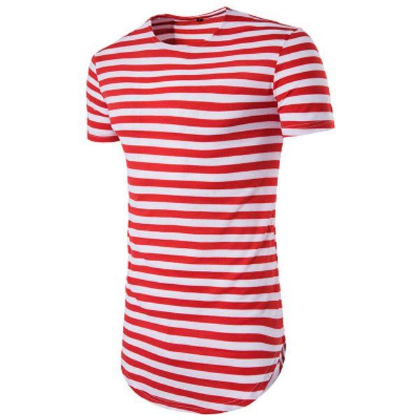 Mens Striped Print T-shirt Hip Hop Streetwear Round Neck Men's Designer T-Shirt Round Hem Short Sleeve Summer Tees for Men Red Stripe Shirt