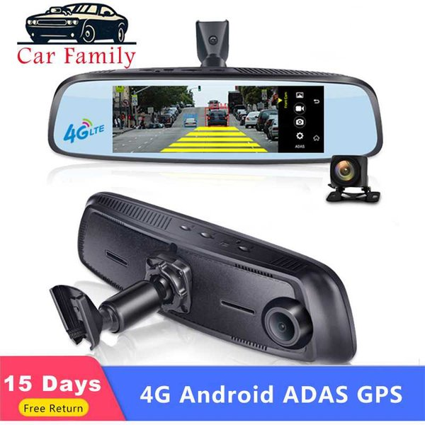 car family car dvr android 5.1 wifi full hd 1080p 4g rearview mirror video recorder adas gps navi cameras dash cam dual lens