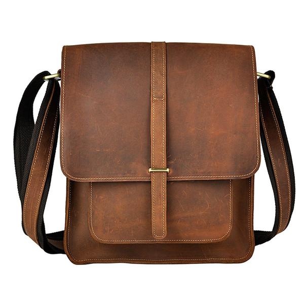 Crazy Horse Leather Men Shoulder Bag For Pad and iPad carry bag for business men vintage brand designer bag for casual and business