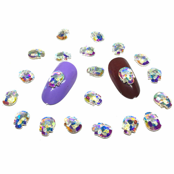 50Pcs Skull Nail Art Crystal Decorations 3d Nail Charms Dekors Punk Jewelry Ab NailArt Diamond Studs Design Cute Accessories diy