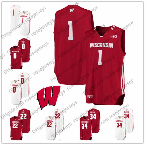 Custom NCAA Wisconsin Basketball Any Name Number Red White #22 Ethan Happ 0 DMitrik Trice 34 Brad Davison 44 Frank Kaminsky Retro Jersey