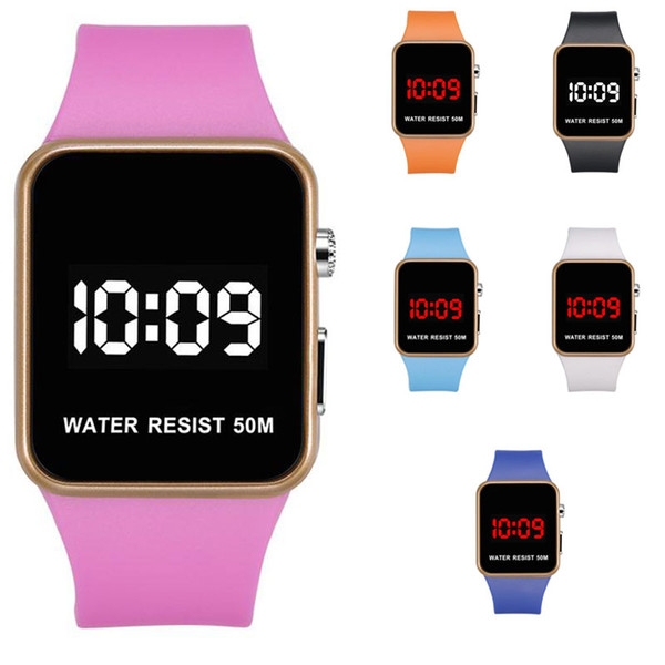 Mode LED Uhren Männer Frauen Sport Digitale Armbanduhren Kalender Datum Silikon wasserdichte Uhr Spiegel Wecker Armbanduhr