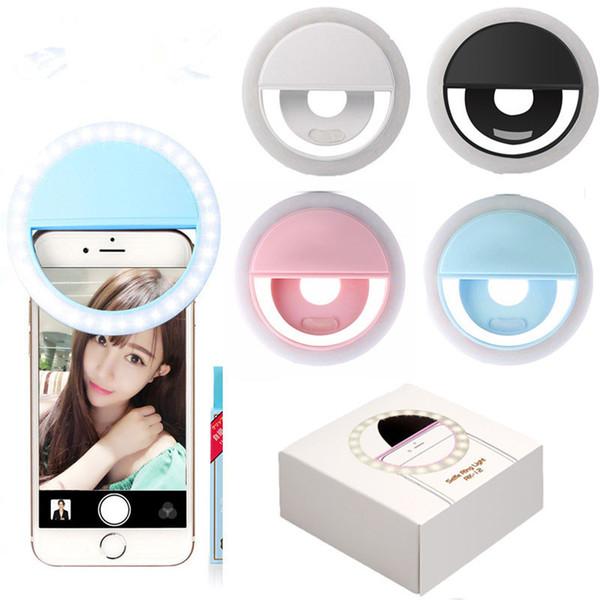 Téléphone portable Selfie LED Bague Flash Light Portable Téléphone Selfie Lampe Lumineuse Clip Lampe Caméra Photographie Vidéo Spotlight lentille Livraison Gratuite