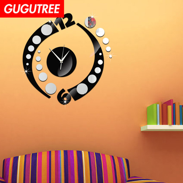 Decorate Home 3D number mirror clock art wall sticker decoration Decals mural painting Removable Decor Wallpaper G-30
