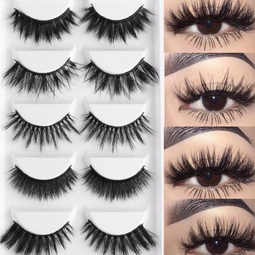 5 Pairs Multipack 3d Soft Hair False Eyelashes Handmade Wispy Long Lashes Natural Eye Makeup Tools Eye Lashes