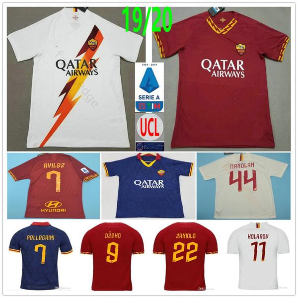 2019 2020 AS Roma Futebol Kolarov Zaniolo TOTTI DZEKO PEROTTI DE ROSSI PASTORE personalizado Casa Fora Roma Homens Mulher Kids Football Shirt