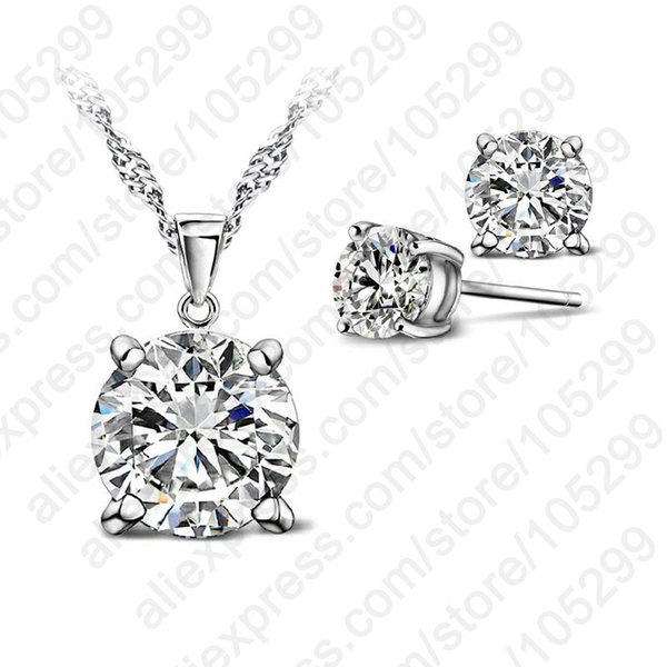 Fashion Austria Crystal Earrings Necklace Jewelry Sets Wedding Dress 925 Stud Earring Pendant Necklace